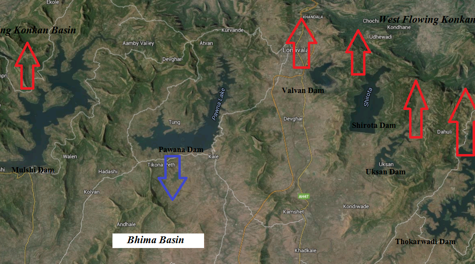 Map showing westward diversion of Bhima Water by Tata Hydropower Dams (Map by Bhi Rawat, SANDRP)