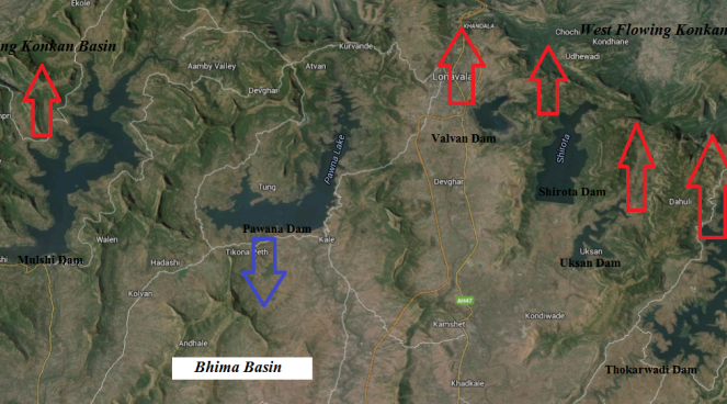 Map showing westward diversion of Bhima Water by Tata Hydropower Dams (Map by Bhi Rawat, SANDRP)