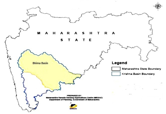 Bhima basin located on the Northern boundary of Krishna Basin (Source: Integrated State Water Plan for Upper Krishna Sub Basin prepared by Water Resources Department Maharashtra)