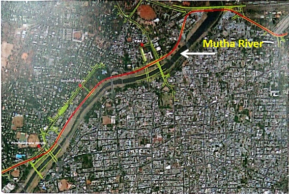 Proposed Metro alignment passing through Mutha riverbed (Source: Report of Technical Support Group on Biodiversity of PMC)