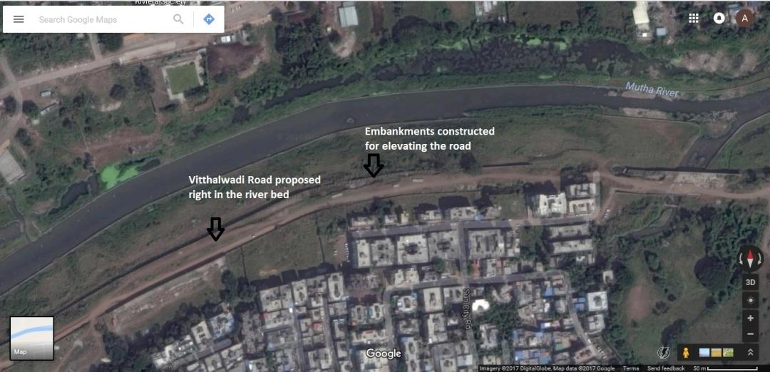 Vitthalvadi riverbed road (based on Google Maps)