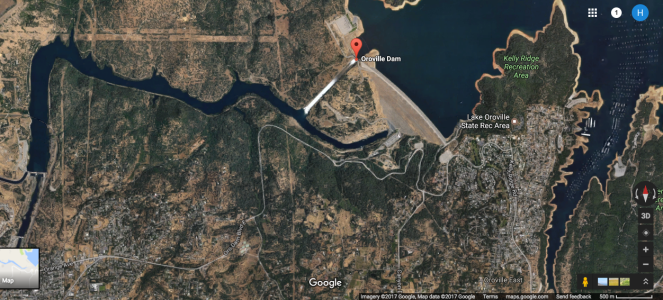 Google Earth Map of Oroville Dam