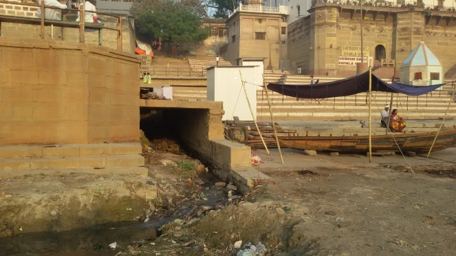 Sewage meeting the Ganga directly at one of the Ghats at Varanasi. Photo- Nandini Oza