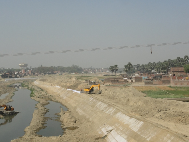 Varuna river's banks being cemented. Photo- Jinda Sandbhor