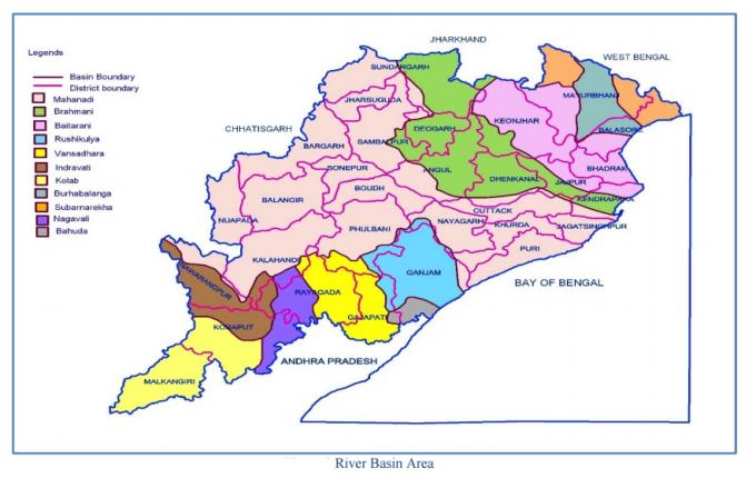 odisha river basin area map