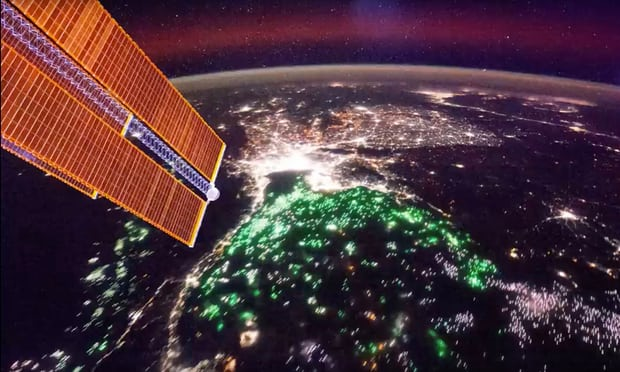 Green spots seen from the International Space Station are the lights of fishing boats used to attract squid across the Gulf of Thailand (Photograph ISS Nasa)