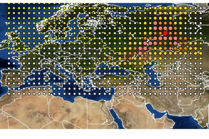 Institute for Radiological Protection and Nuclear Safety map shows the detection of Ruthenium-106 in Europe (AP, INRS)