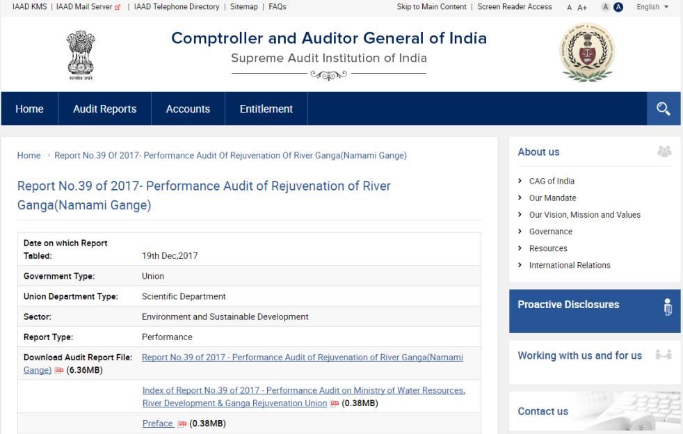 DRP News Bulletin 25 December 2017 (CAG Report Shows Ganga