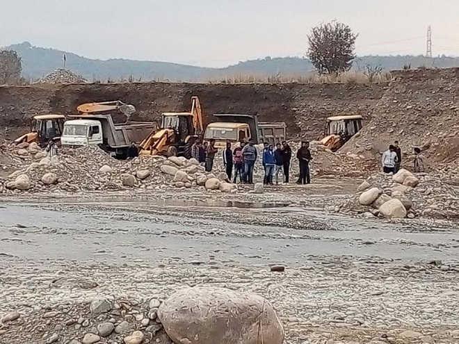 Illegal mining continues at the Punjab-Himachal border in Nurpur subdivision. Tribune photo