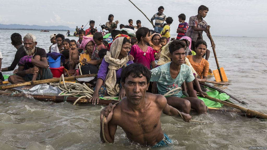 Rohingya refugees are resorting to increasingly desperate measures such as makeshift rafts to cross the Naf River to Bangladesh (Photo, UNHCR, Andrew McConnell)