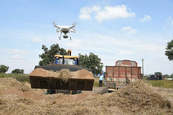 The Karimnagar police using a drone camera to check illegal sand mining and transportation Photo Credit Byarrangement