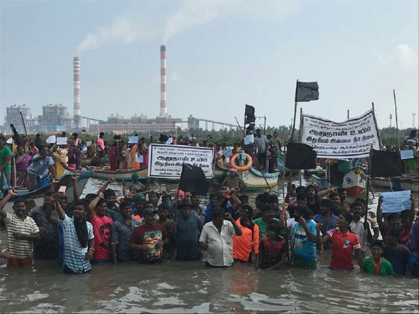 Image result for jal satyagraha tamil nadu save ennore creek