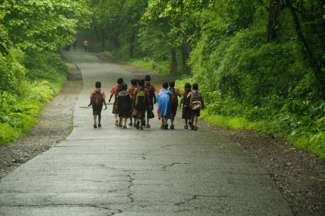 Dahisar River Group of Warli Children walking for school which is 7 km away Photo Aslam Saiyad