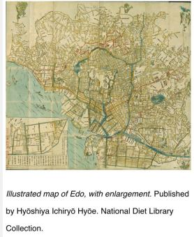 Illustrated Map of Edo, with enlargement