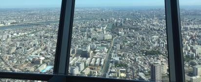 Shitamachi of today with Sumida running through it, seen through the Sky Tree in the Sumida ward, the world's tallest structure