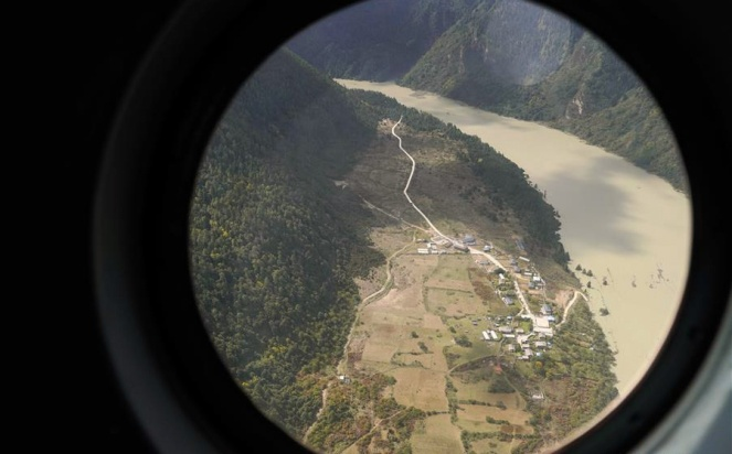 barrier lake formed in Tibet as a result of landslide, near a village in Menling County of Nyingtri City along the Yarlung Tsangpo river. Aerial Photo taken on Oct 18, 2018. (Photo court