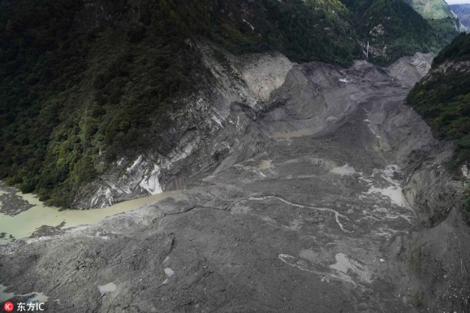 The barrier lake formed by a landslide in the Yarlung Zangbo River in Southwest China's Tibet autonomous region on Oct 18. [Photo:IC]2