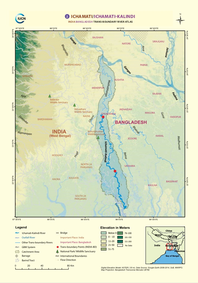 Ichhamati river between India and Bangladesh / Map from IUCN