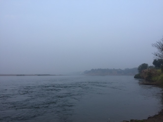 Beautiful morning mist on the river at Karnali
