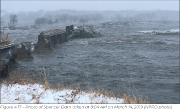 Disaster at Spencer Dam, Photo from SDFRI, photo of March 16, 2020